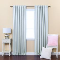 "Best Home Fashion Thermal Insulated Blackout Curtains with Solid Backtab and Rod Pocket, 52-Inch by 95-Inch, Sky Blue, Amazon, $46.99, 104""x95"""