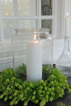 wreath of hop cones - Vita Ranunkler: september 2011 - Would look good around a growler