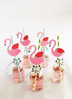 Pink Flamingo Straw Decorations