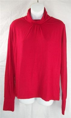 FACONNABLE Turtleneck Top Large Red Long Sleeve Cowl Solid Viscose Rayon Spandex #Faconnable #KnitTop