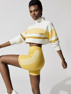 Cropped Retro Rib Sweater Sweaters in Cream/lemon/turmeric by Nagnata from Sport Fashion, Fitness Fashion, Gym Fashion, Moda Retro, Leder Outfits, Ribbed Sweater, Sport Wear, Workout Wear, Lacoste