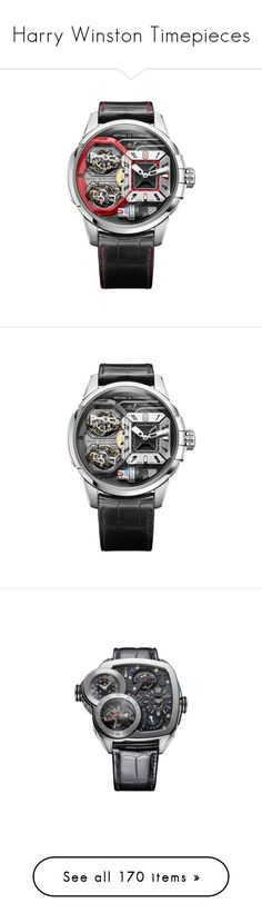 """Harry Winston Timepieces"" by haikuandkysses ❤ liked on Polyvore featuring jewelry, watches, white gold watches, 18k watches, red jewelry, white gold jewellery, 18 karat gold jewelry, engraved jewellery, dial watches and logo watches"