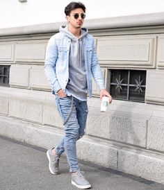 Life-Changing Style Tips for College Men. Gray hooded sweatshirt, denim jacket, jeans, sneaker 1. Click image to view more.  #men #outfits #UrbanMenOutfits #mensfashion #mensguides #menswear #menstreetstyle #stylish #trendy #streetstyle #fall #fallfashion