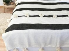 Cotton Moroccan Pompom Blanket bedroom blanket moroccan   Etsy Cal King Bedding, Twin Xl Bedding, Comfy Blankets, Cotton Blankets, King Bed Covers, Duvet Cover Sizes, Bohemian Interior, Sofa Throw, Kid Beds