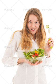 Woman with fresh salad for diet ...  adult, appetizer, appetizing, background, bowl, brunch, calorie, cheerful, cucumber, delicious, diet, eating, edible, female, food, fork, fresh, girl, hand, happy, healthcare, healthy, holds, human, hungry, isolated, lettuce, lifestyle, light, lunch, meal, natural, people, person, salad, smile, starter, taste, tasty, veg, vegetable, vegetarian, vital, vitamins, white, woman, young