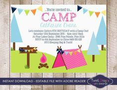 Girls Camping Birthday Invitations Sleepover Slumber Party