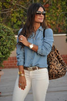 White jeans + jeans shirt                                                                                                                                                                                 More