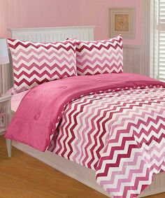 Look what I found on #zulily! Pink Ombré Chevron Comforter Set #zulilyfinds #thro #throbyml #marlolorenz #bedding #kids #microplush #prints #designs #patterns #style #comfy #cozy #share #shop #spread #like #like #love #decorate #babies #sets #zulily #sale #flashsale #deals