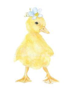 Duckling Floral Watercolor