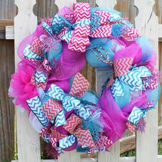 Snowflake Christmas Wreath with deco mesh and burlap in Hot pink and turquoise blue