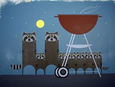 A very accurate raccoon graphic by Charley Harper. Bandits!