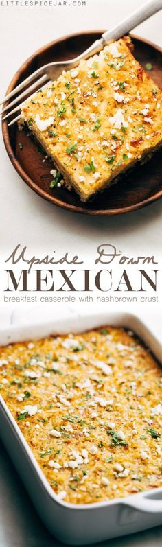 Mexican Breakfast Casserole with Hash Brown Crust - an easy casserole that feeds a crowd! You can even stuff it inside warm tortillas and make breakfast tacos! #breakfastcasserole #mexicanbreakfastcasserole #breakfasttacos