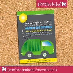 Garbage truck birthday party invitation 5x7 personalized gradient garbage recycle truck custom kids birthday party invitation garbage truck themed boys party invite printable design file by filmwisefo