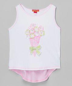 Look at this #zulilyfind! White & Pink Bouquet Hi-Low Top - Girls by Biscotti & Kate Mack #zulilyfinds