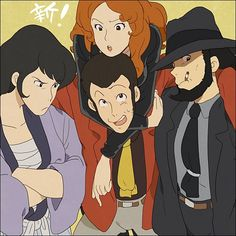 Goemon, Lupin, Fujiko, and Jigen Anime Figures, Anime Characters, Dylan Dog, Lupin The Third, Anime Group, Iphone Background Wallpaper, Old Cartoons, Movie Wallpapers, Manga Comics