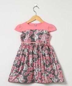 Vestido Floral Rosa e Cinza Escuro