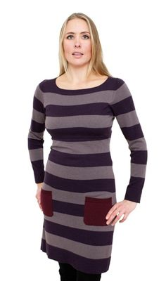 Liv Stripe Woollen Breastfeeding Dress Stripe Mysterio/Earth/Cabernet
