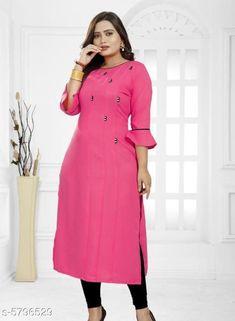 Kurtis & Kurtas Women's Solid Rayon Kurti Fabric: Rayon Sleeve Length: Three-Quarter Sleeves Pattern: Solid Combo of: Single Sizes: XL (Bust Size: 42 in Size Length: 46 in)  L (Bust Size: 40 in Size Length: 46 in)  XXL (Bust Size: 44 in Size Length: 46 in)  M (Bust Size: 38 in Size Length: 46 in) Country of Origin: India Sizes Available: S, M, L, XL, XXL, XXXL   Catalog Rating: ★4 (456)  Catalog Name: Jivika Fashionable Kurtis CatalogID_872985 C74-SC1001 Code: 792-5796529-