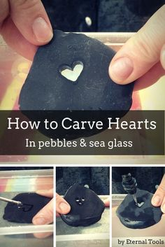 How To Carve A Heart in Pebbles, stone, sea glass and beach pottery by Eternal Tools. Take a Dremel rotary tool, a diamond core drill and a diamond burr and start creating shapes into your sea glass and pebbles.
