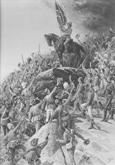 Sons of the Blood by S Begg. Famous picture showing troops of various regiments from all parts of the Empire at the time of the Boer War. Military Art, Military History, War Horses, Famous Pictures, Total War, British Colonial, African History, British Army, Types Of Art