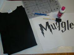 Freezer Paper stencil: Muggle T-Shirts