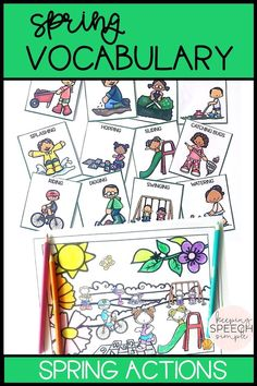 Teach your students important action words with these basic spring vocabulary cards. Cards depict basic spring actions. Also included are coloring sheets with coordinating actions. Materials are ideal for preschool, early elementary, ELL, special education and speech therapy.