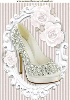 PRETTY DIAMOND SHOE WITH WHITE ROSES IN FRAME A4 on Craftsuprint - Add To Basket!