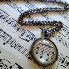 Vintage Music Sheet Pendant Necklace by @justByou on Etsy, $14.00  #handmade #shopjustByou #jewelry