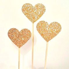 Ruby Rabbit Partyware - Gold Glitter Heart Cake Toppers (3 pack)