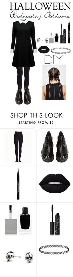 """DIY Halloween Costume ~ Wednesday Addams"" by tenleyhoot ❤ liked on Polyvore featuring Stuart Weitzman, Givenchy, Lime Crime, NARS Cosmetics, Kasun, halloweencostume and DIYHalloween"