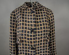 Vintage 1960's Linen Window Pane Coat, Retro 60's Window Pane Linen Coat Made in England, Retro 60's Beautiful Linen Coat Dress British