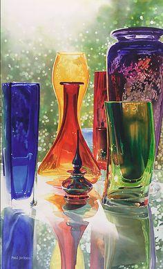 """Sundance"" Art Glass Watercolor Painting by Paul Jackson"