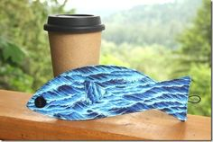 DIY SEWING - COFFEE SLEEVE  Tutorial & Free Printable PDF Pattern !  Coffee Sleeve of the Month-Father Day Fish (She has lots of other patterns for Drink sleeves also..check it out)