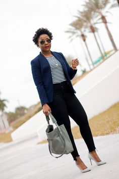 work outfit with navy blazer striped tee and black jeans pants @jcrew Women's fashion #workoutfit