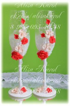 Wedding champagne flutes  wedding glasses with red by AlisaKarol, $65.00