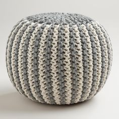 Two-Tone Knitted Pouf | World Market