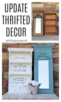 Discover creative ideas for updating thrifted decor in these tutorials for Chalk Painting a vintage mirror and stenciling a wall shelf. By Girl in the Garage Annie Sloan Chalk Paint Projects, Chalk Paint Furniture, Furniture Makeover, Diy Furniture, Provence Chalk Paint, Habitat For Humanity Restore, Trumeau Mirror, Creative Ideas, Diy Ideas