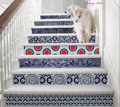 Tile or wallpaper stair risers