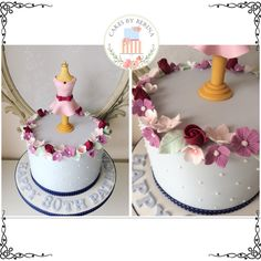 Floral vintage birthday cake for a dress maker