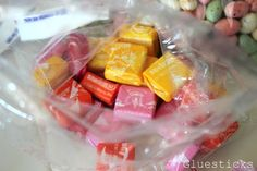 Using Starburst candies for cake decorating. Warm them in your hands and you can mold them!