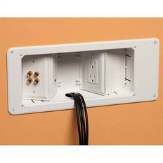 Recessed wall plates so you can put TVs and media cabinets against the wall… Casa Milano, Up House, Wall Mounted Tv, Basement Remodeling, Basement Ideas, Condo, Home Living Room, Plates On Wall, Home Organization