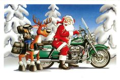 Harley Davidson Motorcycle Christmas Cards with Envelopes - Send friends and family Christmas cards with Harley Davidson Christmas themed artwork.
