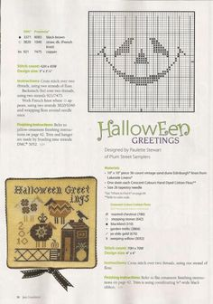 Halloween is comming! Halloween Themes, Fall Halloween, Fall Cross Stitch, Halloween Greetings, Halloween Cross Stitches, Needle And Thread, Hand Stitching, Crafts To Make, Black And Brown