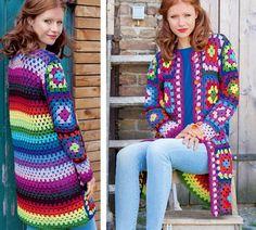 Пальто из «бабушкиных квадратов» - схема вязания крючком. Вяжем Пальто на Verena.ru