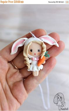 ON SALE Pendant Bunny doll, girl pendant.