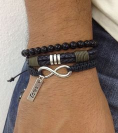 Mens Bracelet, fashion cooltrending bracelets for men, mens wrap bracelet, men diy bracelet, leather and metal bracelts for men. Bracelets For Men, Fashion Bracelets, Jewelry Bracelets, Bracelet Men, Men Accesories, Fashion Accessories, Bijoux Design, Leather Jewelry, Bracelet Making