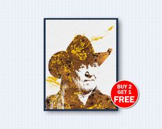 Willie Nelson Poster, Willie Nelson Watercolor, Willie Nelson Music, Music Poster, Watercolor Art, Wall Decor, Home Decor by TheWoodenKat on Etsy
