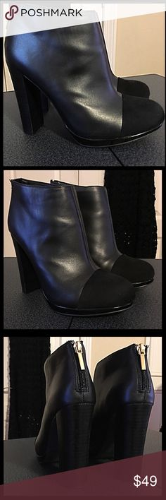 🛍Victoria's Secret Ankle Boot🛍 These are awesome boots for anyone that loves wearing boots and heels. The upper is made of leather and has a suede toe. They Zip in the back and are from their Angel Boot Series. The heel is 4 inches which I would consider a block heel. They are in very good condition, I have only wore 2-3 times. Having trouble finding the original box as they were in the wrong one. Victoria's Secret Shoes Ankle Boots & Booties