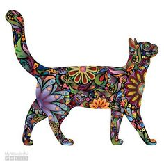 My Wonderful Walls Walking Cat Right Facing Sticker Wall Decal Size: Extra Large