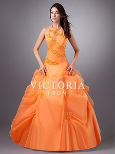 Orange Princess Floor Length Beaded Organza Halter Corset Prom Dress - US$ 194.99 - Style P2030 - Victoria Prom